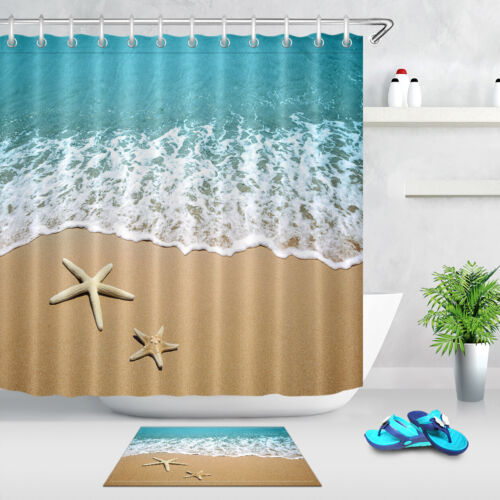 tropical ocean beach shower curtain set waterproof fabric bathroom w 12 hooks bathroom supplies accessories garden curtains