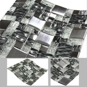 Details Zu Glasmosaik Magic Mosaik Mosaikfliesen Fliesen Edelstahl Glas Weiß Schwarz Bad
