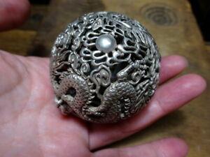 A beautiful Silver Hanging Ball Pomander Censer Balance Mechanism Dragon