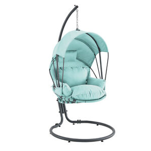details about outdoor patio hanging egg chair stand porch swing furniture deep cushion aqua