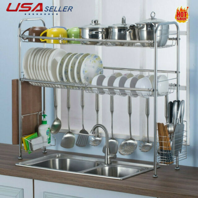 Over Sink Dish Drying Rack Drainer Stainless Steel Kitchen Cutlery Holder Shelf For Sale Online