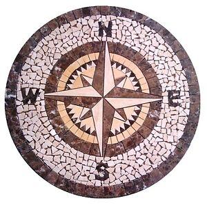 Sol En Marbre Ronde Medaillon Rose Des Vents Carrelage Mosaique 30 In Environ 76 20 Cm Ebay