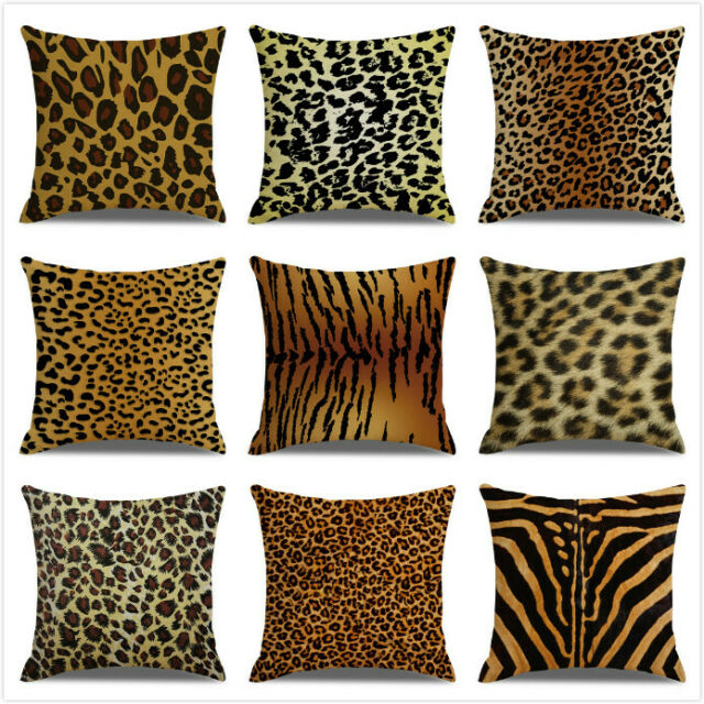 leopard print fleece sofa back cushion