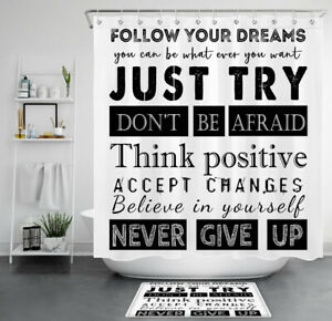 details about inspirational quotes black white shower curtain sets funny slang bathroom decor