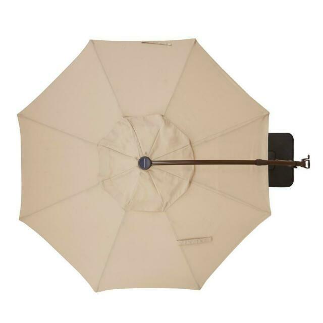 hampton bay yjaf052 pu 11ft cantilever solar led offset outdoor patio umbrella putty tan