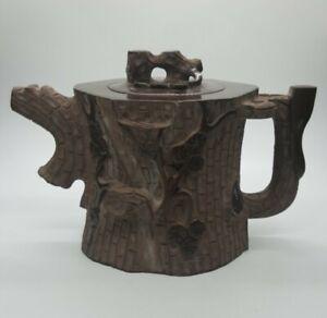 Old Yixing Zisha Clay Teapot Purple Handmade Tree Stump Teapot Brown