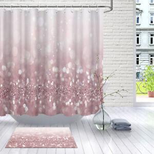 details about bathroom waterproof fabric xmas glitter pink light spot shower curtain set hooks