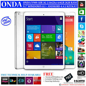 ONDA V919 3G AIR 64GB INTEL 2.16GHz DUAL OS WINDOWS 8.1 ANDROID 4.4 TABLET PC