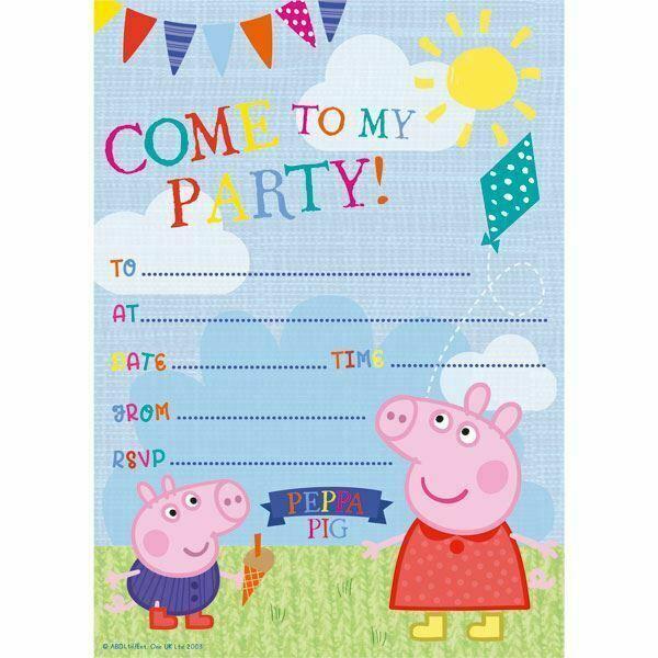 peppa pig childrens kids girls boys birthday party invitations envelopes x20 for sale online ebay