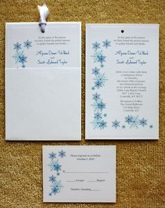 Details About 80 Personalized Custom Snow Winter Snowflake Pocket Wedding Invitations Set