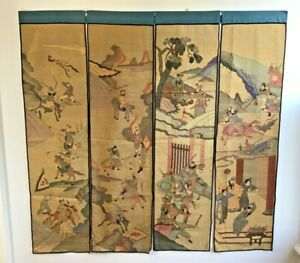 Set of four exquisite Antique Chinese Silk Kesi embroidery panels