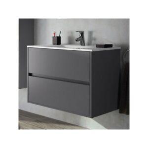 details sur meuble de salle de bain toilette 80 cm suspendu avec evier lavabo vasque gris