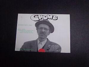 ROBERT CRUMB artist vintage ART GALLERY INVITE-BESS CUTLER GALLERY-1995 N.Y.C.