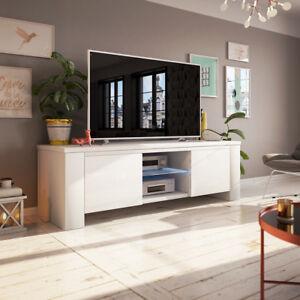 details sur jackson meuble tv avec led 130 cm noir blanc elegant moderne
