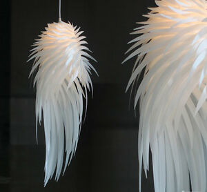 Image Is Loading Modern Iracus White Feather Wing Ceiling Light Pendant