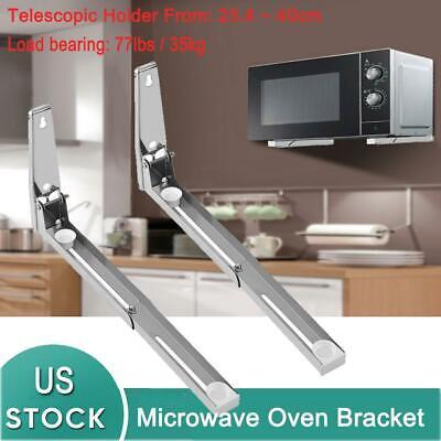 2 pcs stainless steel microwave oven bracket foldable wall mount rack shelf ebay