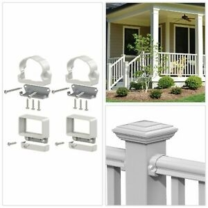 Rail Line Bracket Kit Vinyl Railing Stair Brackets Veranda | Veranda Traditional Stair Railing | Ebay | Porch Railing | Porch Deck | Deck Stair | Composite Decking