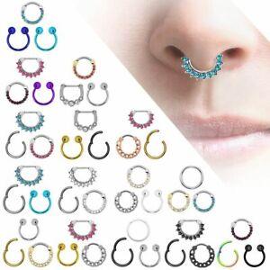 3er Set Segment Septum Nasenring Clicker Ring Piercing Strass Glitzer Edelstahl