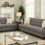 Traditional Design Living Family Room Gray Fabric Sofa Couch Loveseat Set Igaq