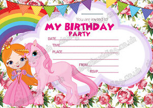 Image Is Loading S Party Unicorn Invitations Cards Birthday Invites Thick