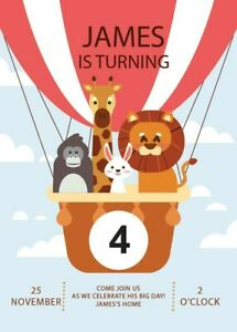 details about zoo animals hot air balloon kids birthday party invitations