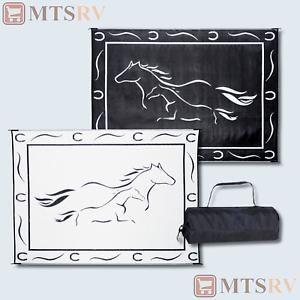 model gh8111 black white 2 horses mmi 8x11 reversible patio mat new