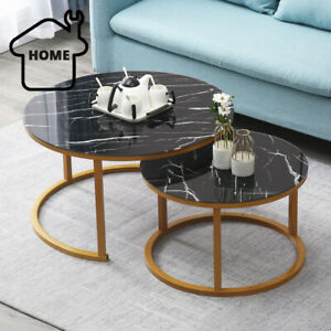 details about 2 round coffee table set sofa tables nested side living room home marble vein