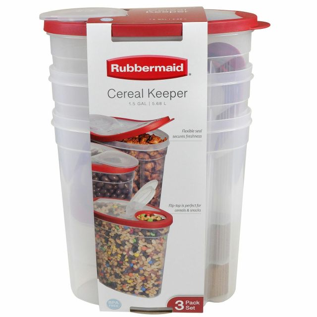 Rubbermaid Cereal Keeper Plastic Storage Container Food Holder Set 3-Pk 2