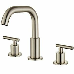 details about 2 handle 8 inch widespread bathroom faucet for 3 hole sink brushed nickel