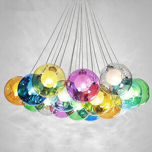 Color bubble Glass ball 7 37 LED Pendant Lamp Chandelier Ceiling     Image is loading Color bubble Glass ball 7 37 LED Pendant
