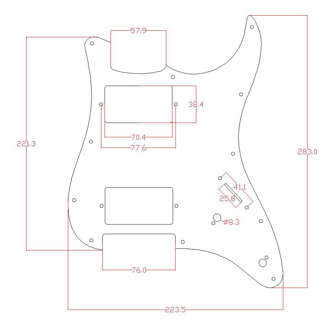 Guitar Loaded Hh Humbucker Pickguard For Fender Stratocaster Strat Parts White