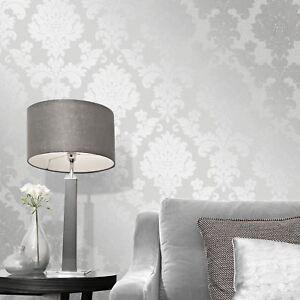 Il nuovo brand di inkiostro bianco. Quartz Damask Wallpaper Silver Fine Decor Fd41965 Glitter Shimmer Ebay
