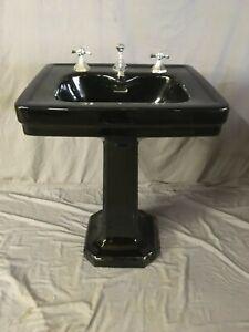 details about antique ceramic black porcelain pedestal sink standard tiffin vtg deco 352 19e