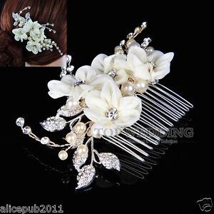 elegant wedding prom bridal jewelry beige flower hair b w rhinestone pearl ebay