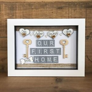Personalised Box Frame Family New Home First Home Scrabble House Warming Gift Ebay