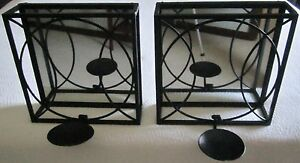 Pair of Wrought Iron Black Wall Mirrored Pillar Candle ... on Black Wrought Iron Wall Candle Holders id=11887