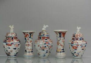 Antique 18th Century Japanese Garniture Beaker Porcelain Vase Imari Edo Period