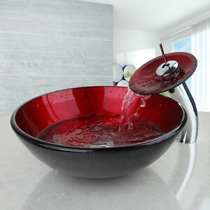 details about red bathroom vessel sink hand painting tempered glass bowl waterfall faucet tap