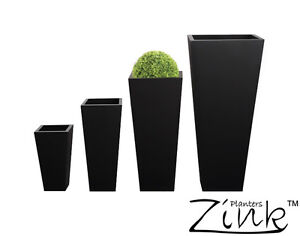 details about zinc black tall flared square planter metal plant pot garden patio galvanised