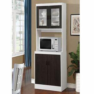 details about black wooden tall microwave kitchen storage cabinet cupboard pantry organizer