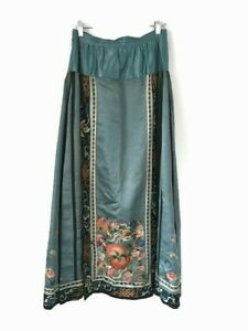 Antique Chinese Silk Skirt Embroidered With Peaches & Bats Forbidden Knot Qing