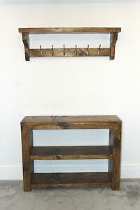 details about rustic shoe rack coat rack storage shelf reclaimed chunky solid wood dark oak