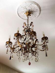 Scopri i lampadari modernariato e vintage dei nostri antiquari. Lampadario Cristallo In Ottone E Gocce Di Cristallo Di Boemia Anni 50 Ebay