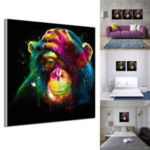 details sur 1 pcs peinture a l huile tableau abstraite moderne gorille colore murale salon