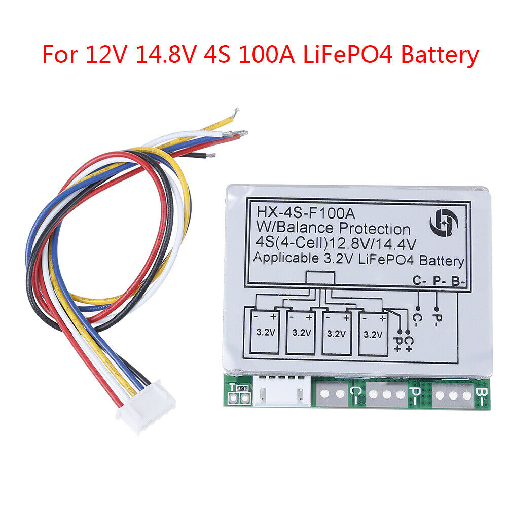 4S 100A 12.8V w/balance LiFePo4 LiFe 18650battery cell BMS protection PCB boaT2P