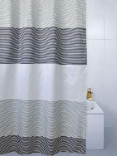 duschvorhange horizon bold stripe polyester shower curtain 180 x 180cm cream or grey blue mobel wohnen kassof com