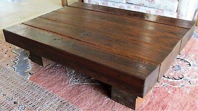 vintage solid wood rustic coffee table very heavy 55 x 40 x15 genuine vintage ebay