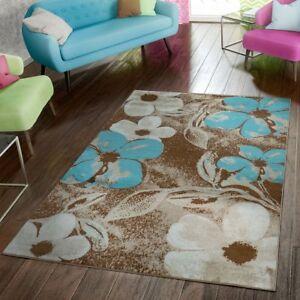 details sur tapis salon moderne abordable motif fleurs chine brun beige creme bleu