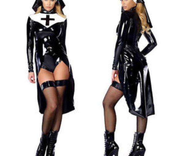 Sexy Black Women Nun Costume Vinyl Leather Cosplay Wet Look