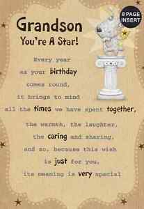 GRANDSON YOURE A STAR BIRTHDAY CARD 8 PAGE INSERT LOVELY VERSE F1 EBay